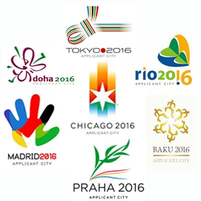 The applicant city logos for the 2016 Olympics