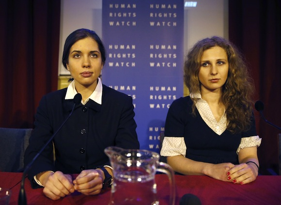Nadezhda (Nadya) Tolokonnikova and Maria (Masha) Alekhina of Pussy Riot, via the New Yorker